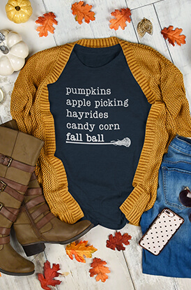 Girls Lacrosse Favorite Fall Things T-Shirt